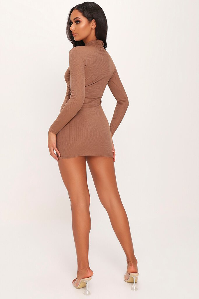 Mocha Ribbed High Neck Roll Neck Belted Bodycon Dress view 5