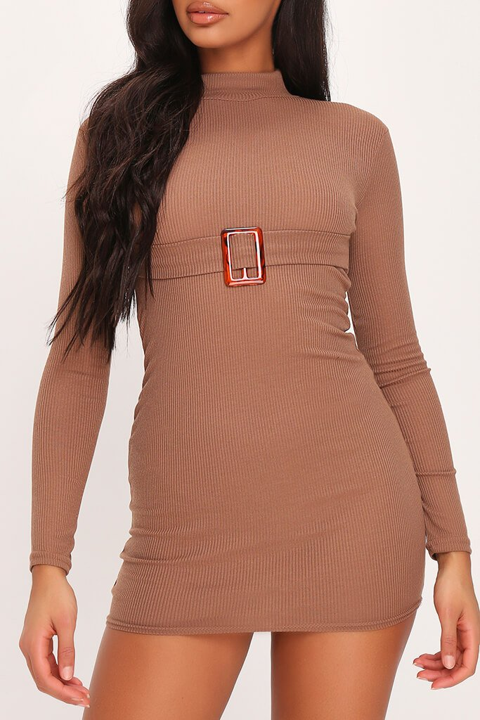 Mocha Ribbed High Neck Roll Neck Belted Bodycon Dress view 4