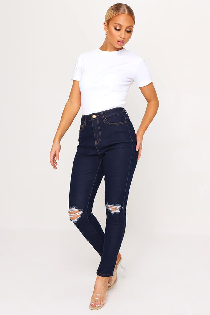 Indigo Blue Stretch 5 Pocket Skinny Jeans view main view