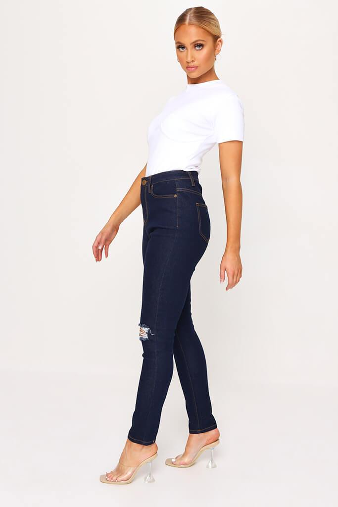 Indigo Blue Stretch 5 Pocket Skinny Jeans view 3