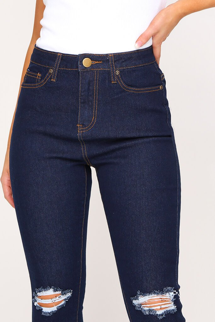 Indigo Blue Stretch 5 Pocket Skinny Jeans view 4