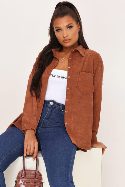 Chestnut Corduroy Shirt by I Saw It First