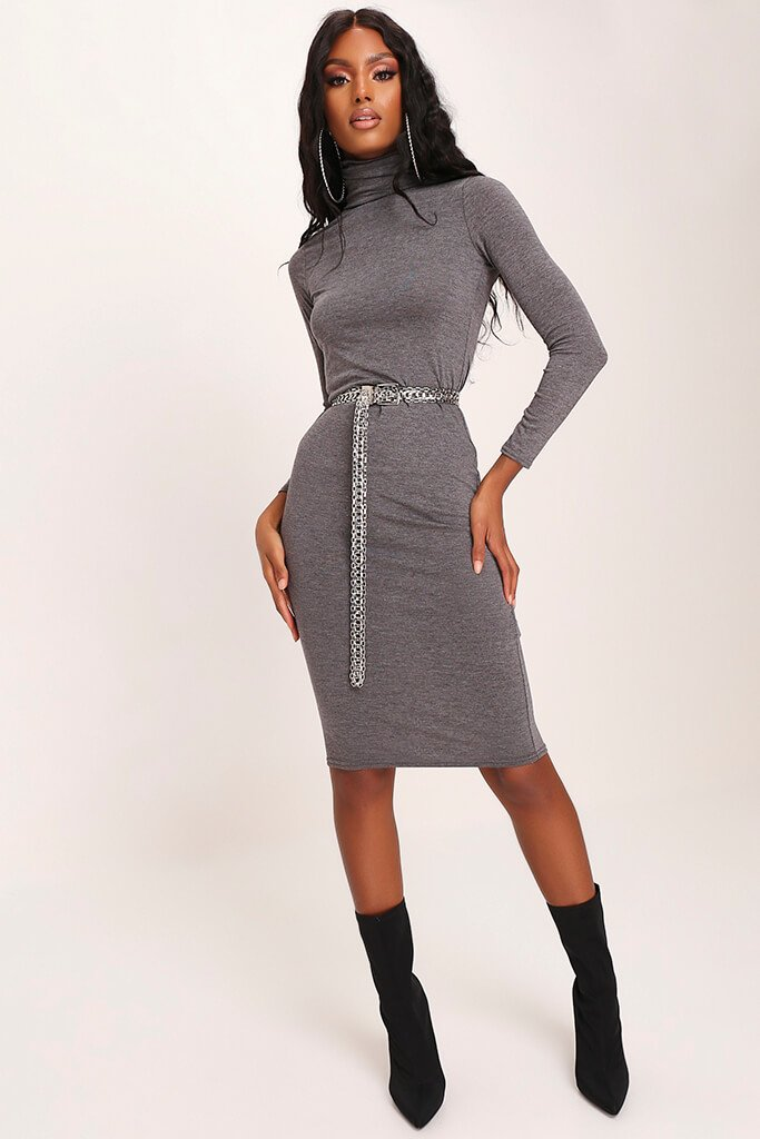 Charcoal Long Sleeve Roll Neck Midi Dress view 2