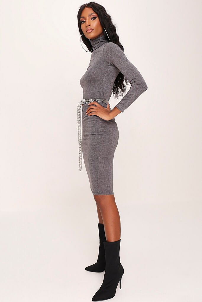 Charcoal Long Sleeve Roll Neck Midi Dress view 3