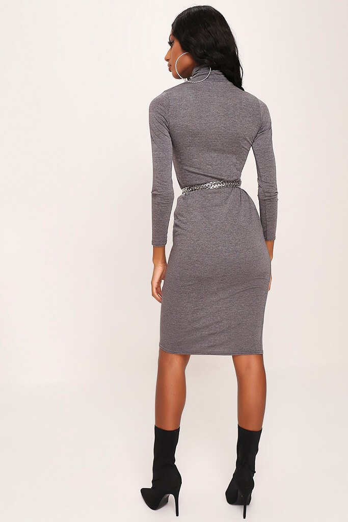 Charcoal Long Sleeve Roll Neck Midi Dress view 5