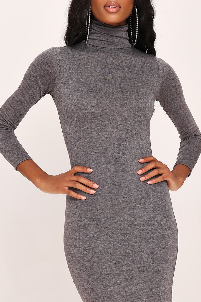 Charcoal Long Sleeve Roll Neck Midi Dress view 4