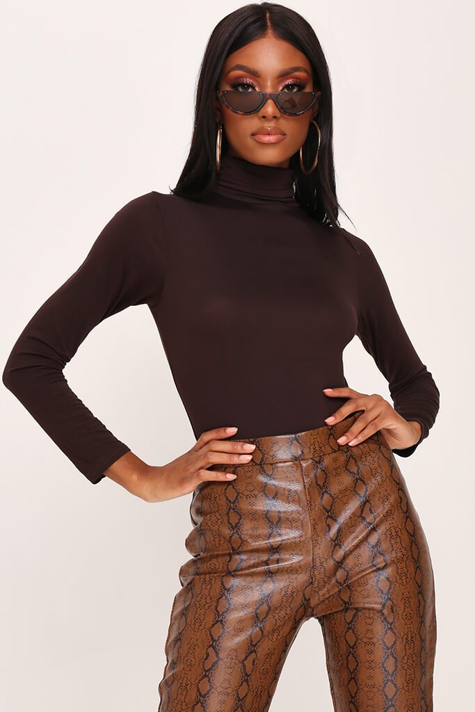 Chocolate Basic Roll Neck Long Sleeve Bodysuit