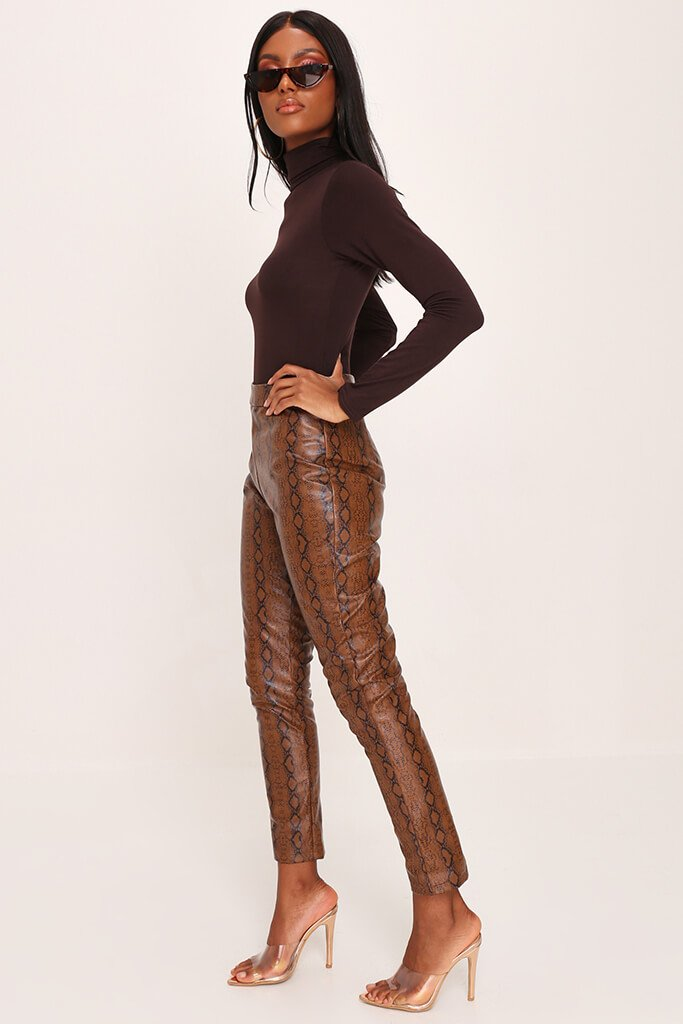 Chocolate Basic Roll Neck Long Sleeve Bodysuit view 5