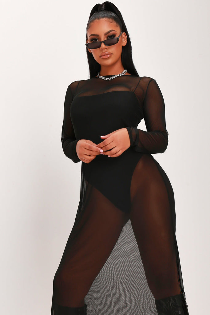 Black Mesh Long Sleeve Split Leg Midi Dress view 2
