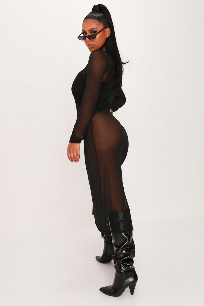 Black Mesh Long Sleeve Split Leg Midi Dress view 3