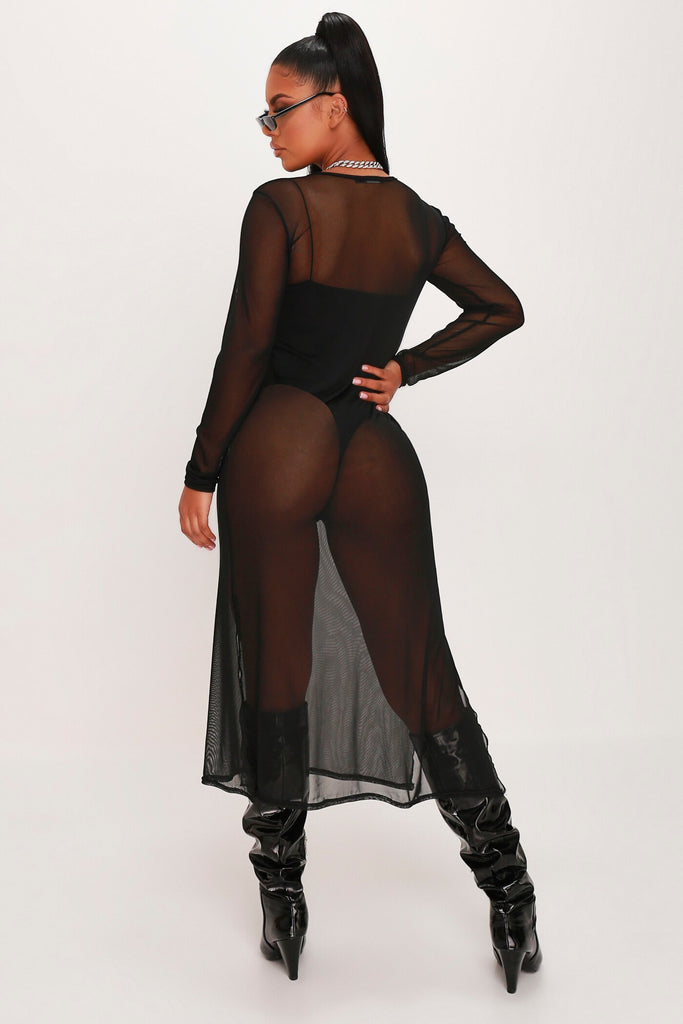 Black Mesh Long Sleeve Split Leg Midi Dress view 5