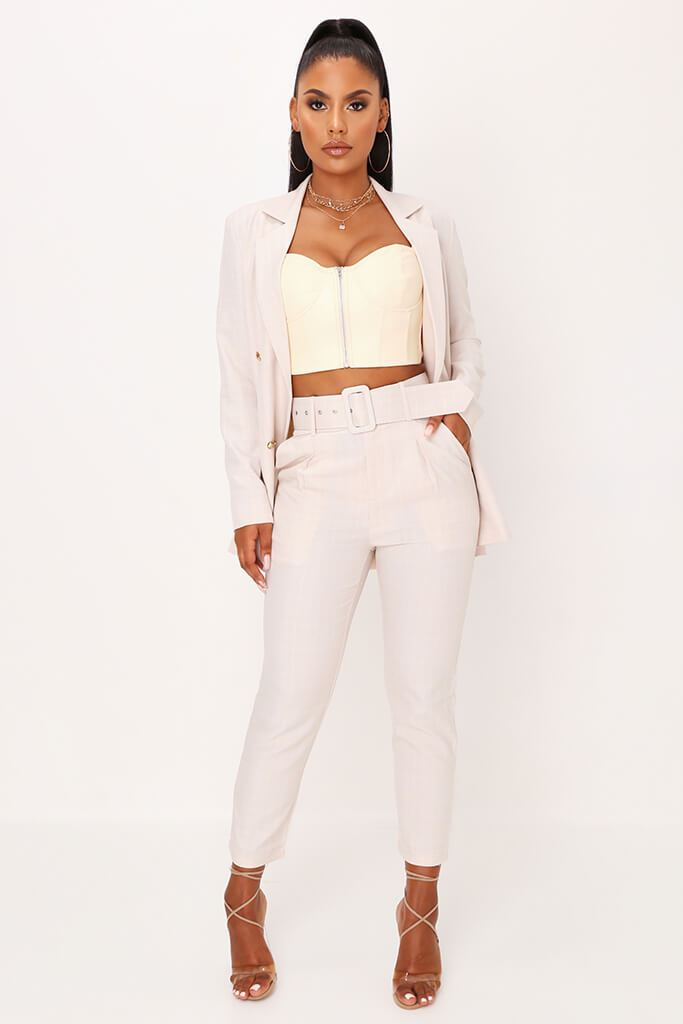 Stone Check Print Belted Cigarette Trousers