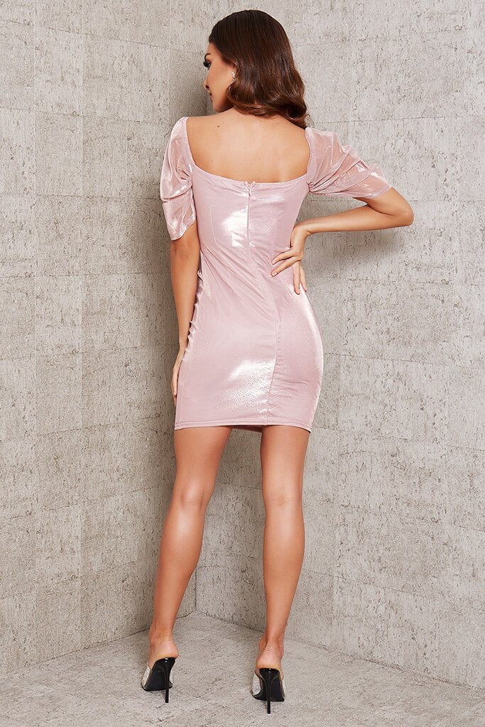 Rose Gold Mesh Sleeve Ruched Front Bodycon Dress view 5
