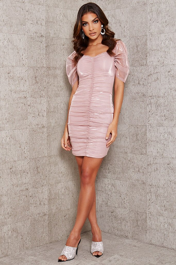 Rose Gold Mesh Sleeve Ruched Front Bodycon Dress view 2