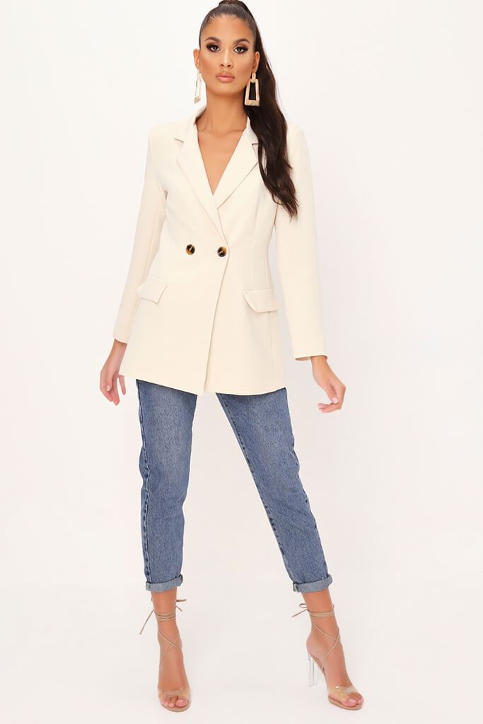 Cream Double Button Blazer view 2