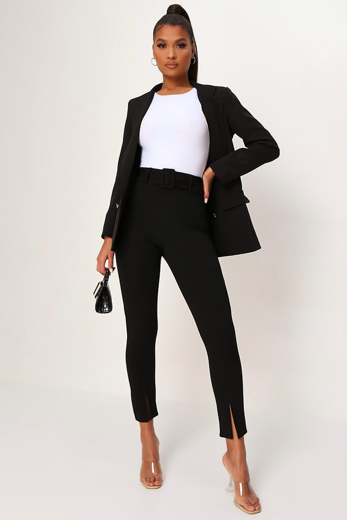 Black Split Front Cigarette Trouser