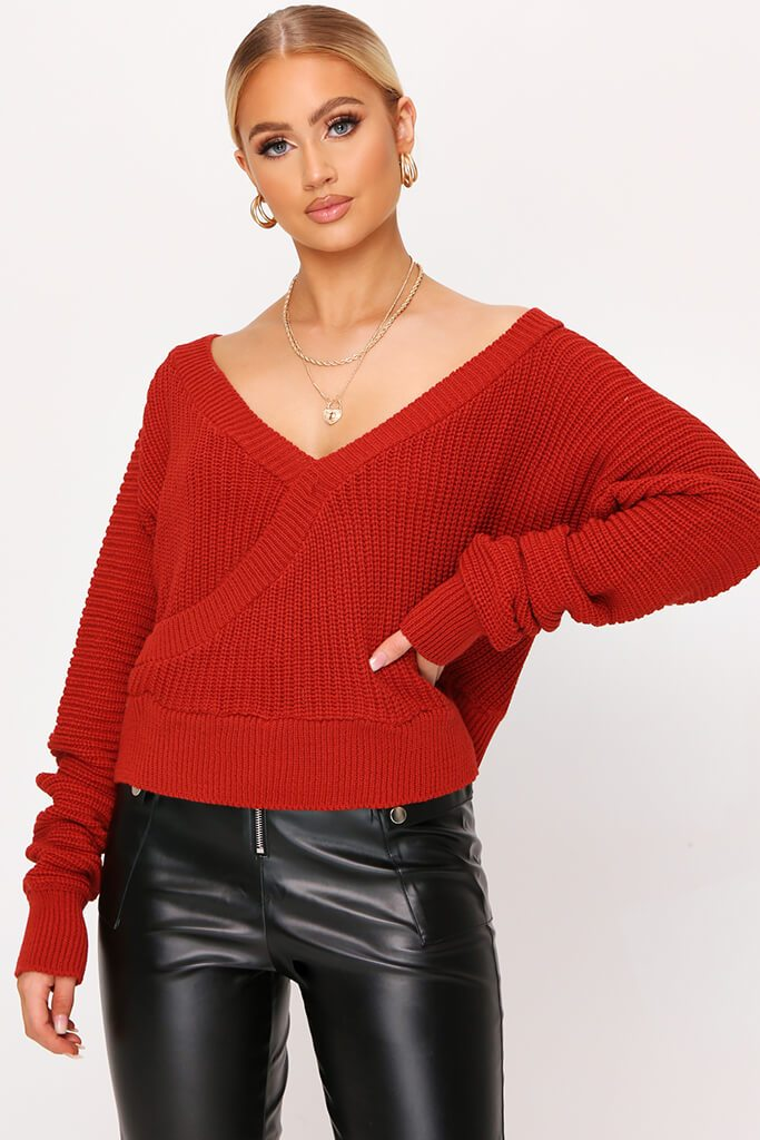 Rust V-Neck Wrap Crop Jumper view main view