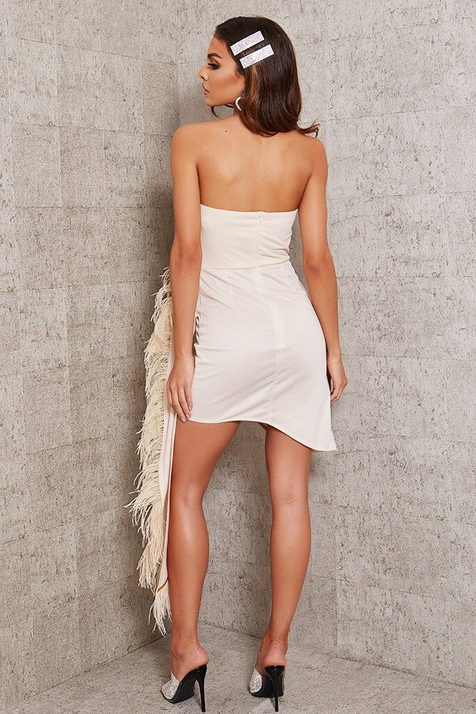 Nude Feather Drape Bandeau Bodycon Dress view 5