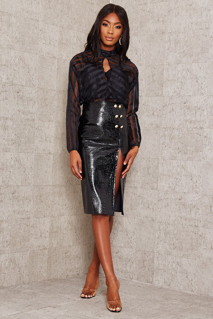 Black Faux Croc Leather Split Midi Skirt