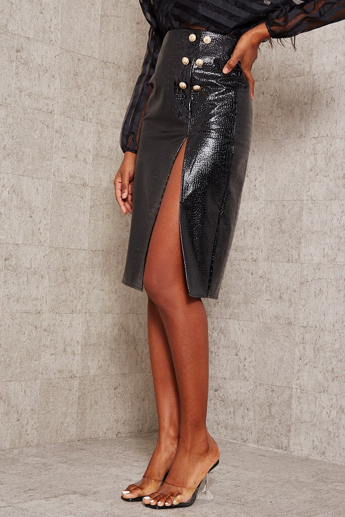 Black Faux Croc Leather Split Midi Skirt view 2