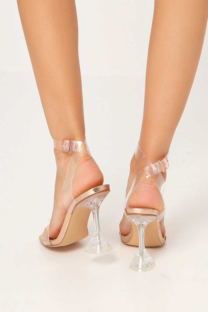 Rose Gold Perspex Strappy Diamond Heels view 3