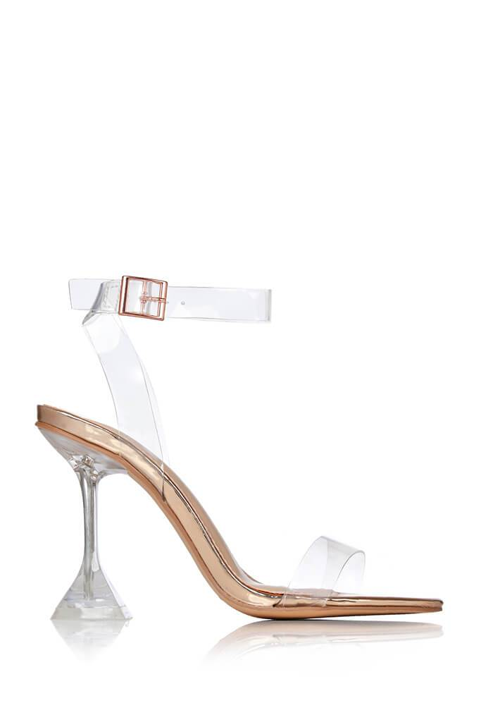 Rose Gold Perspex Strappy Diamond Heels view 4