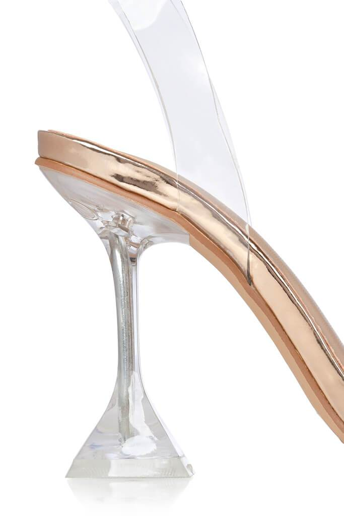 Rose Gold Perspex Strappy Diamond Heels view 5