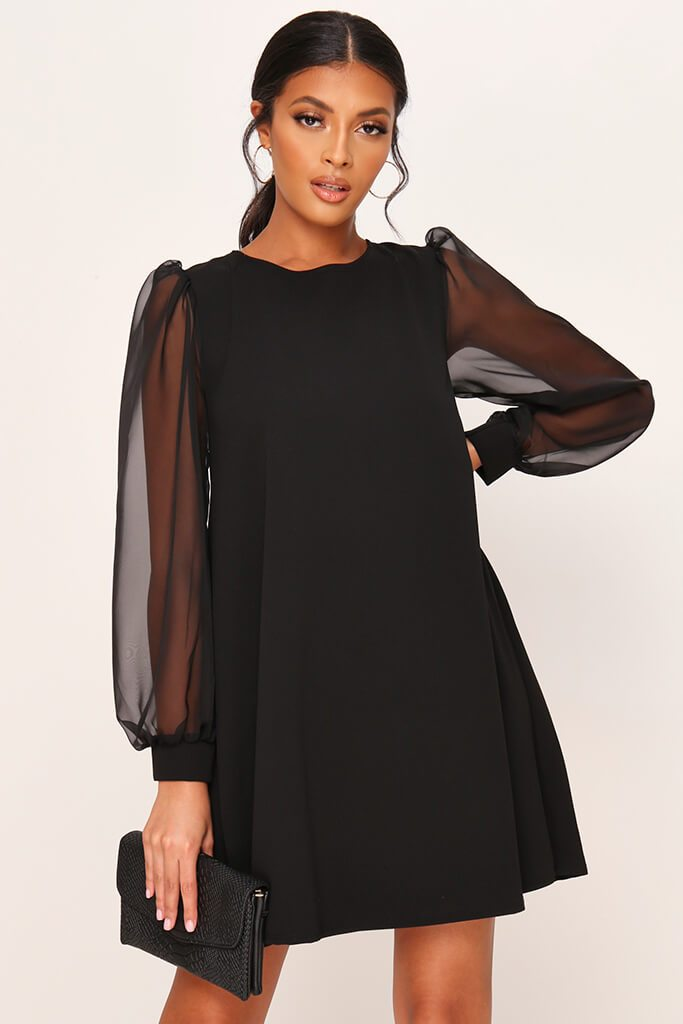 Black Tie Back Organza Sleeve Dress view main view