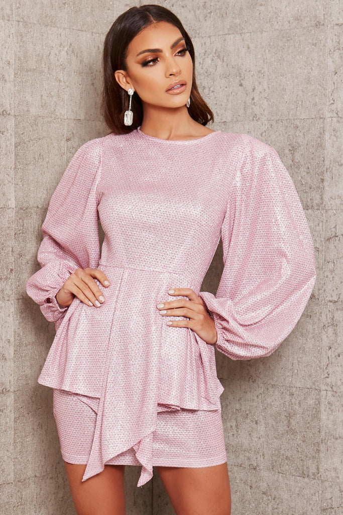 Pink Glitter Balloon Sleeve Peplum Detail Dress