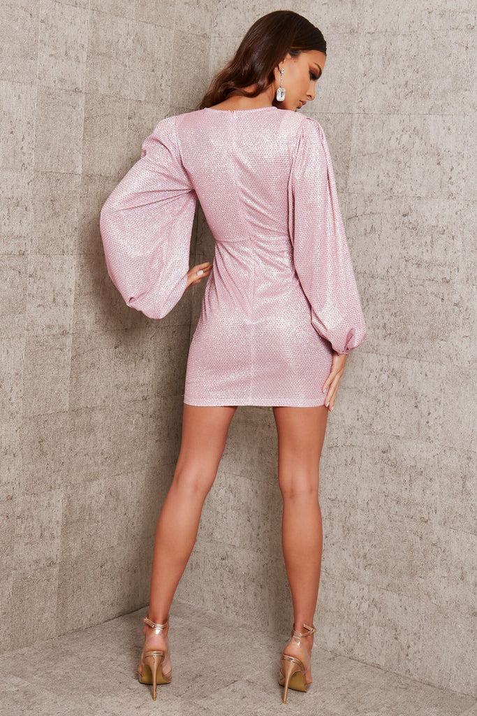 Pink Glitter Balloon Sleeve Peplum Detail Dress view 5