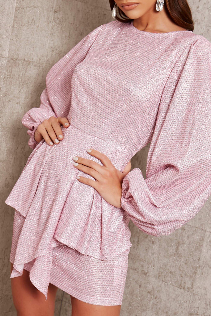 Pink Glitter Balloon Sleeve Peplum Detail Dress view 4