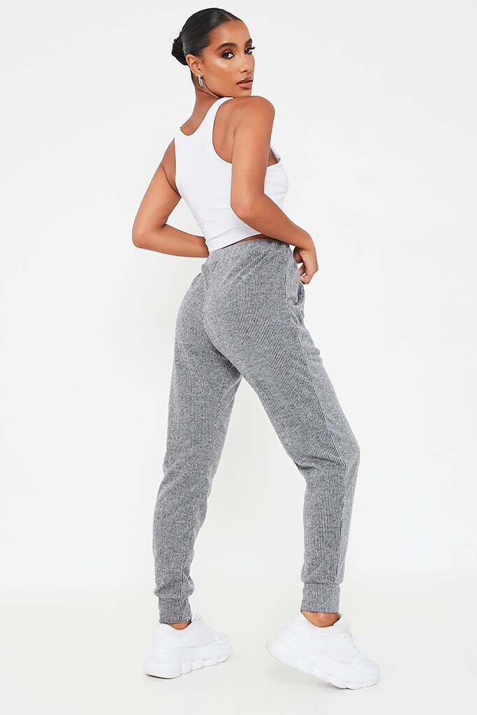 Grey Brushed Rib Slim Leg Jogger view 4