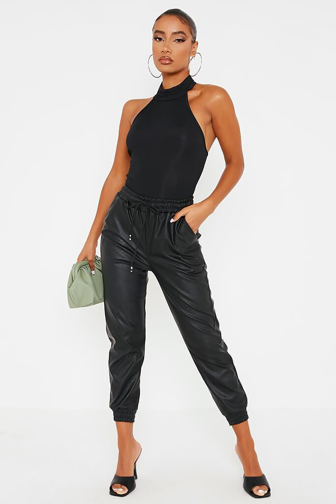 Black Faux Leather Elasticated Joggers view 3
