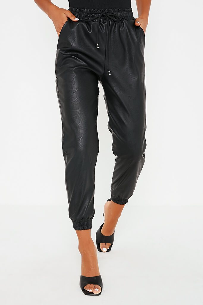 Black Faux Leather Elasticated Joggers view 2