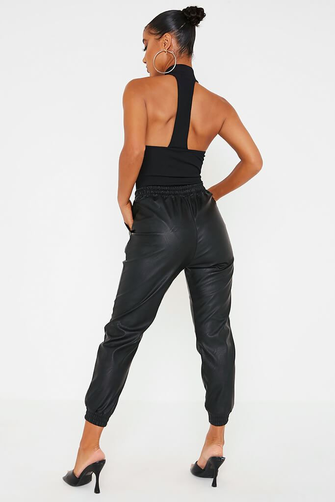 Black Faux Leather Elasticated Joggers view 4