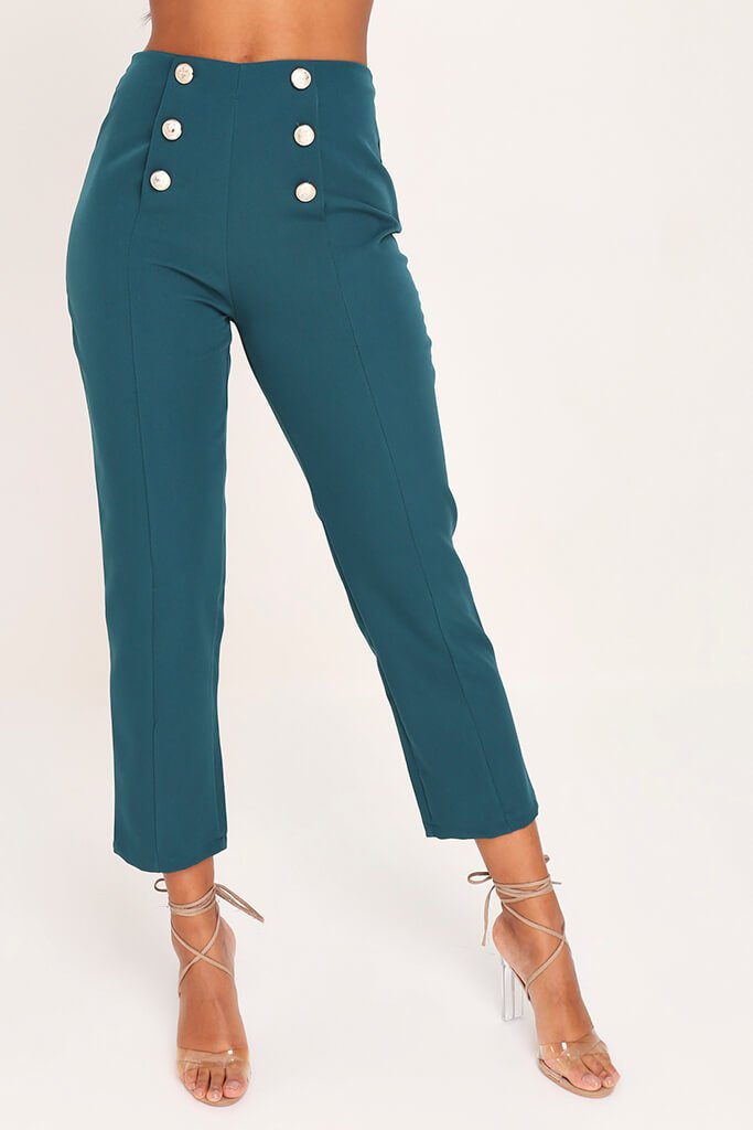 Emerald Green Skinny Trousers view 2
