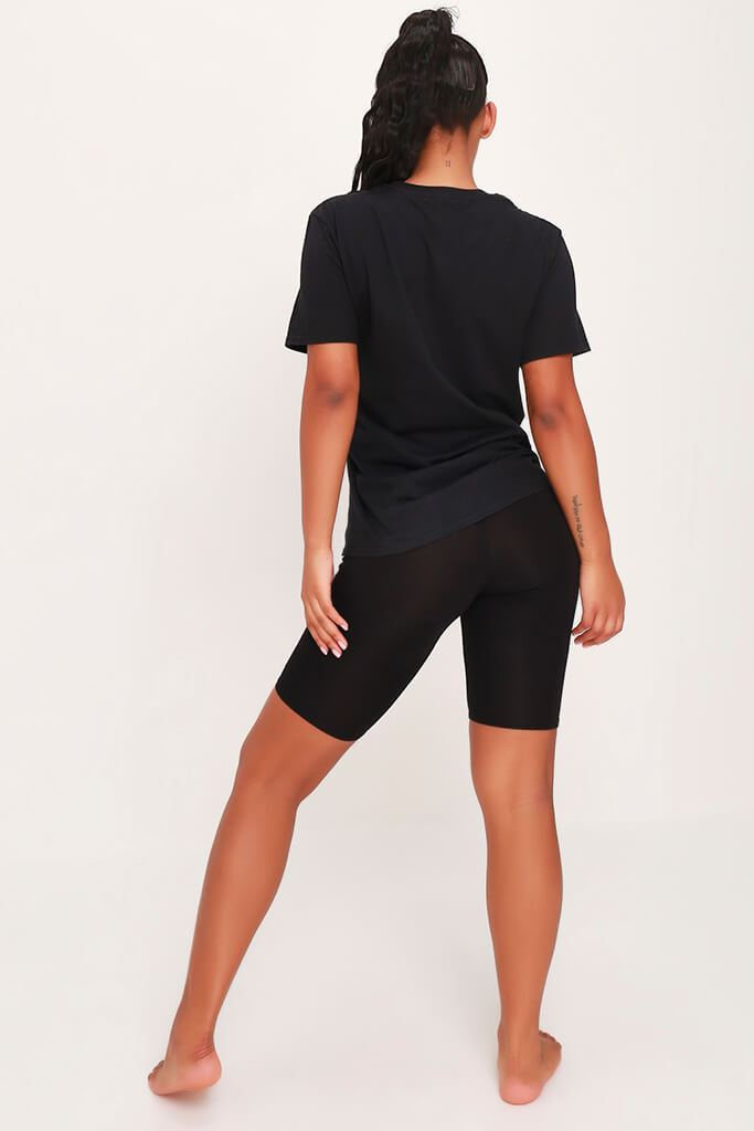 Black Cycling Short Sleep Set view 7