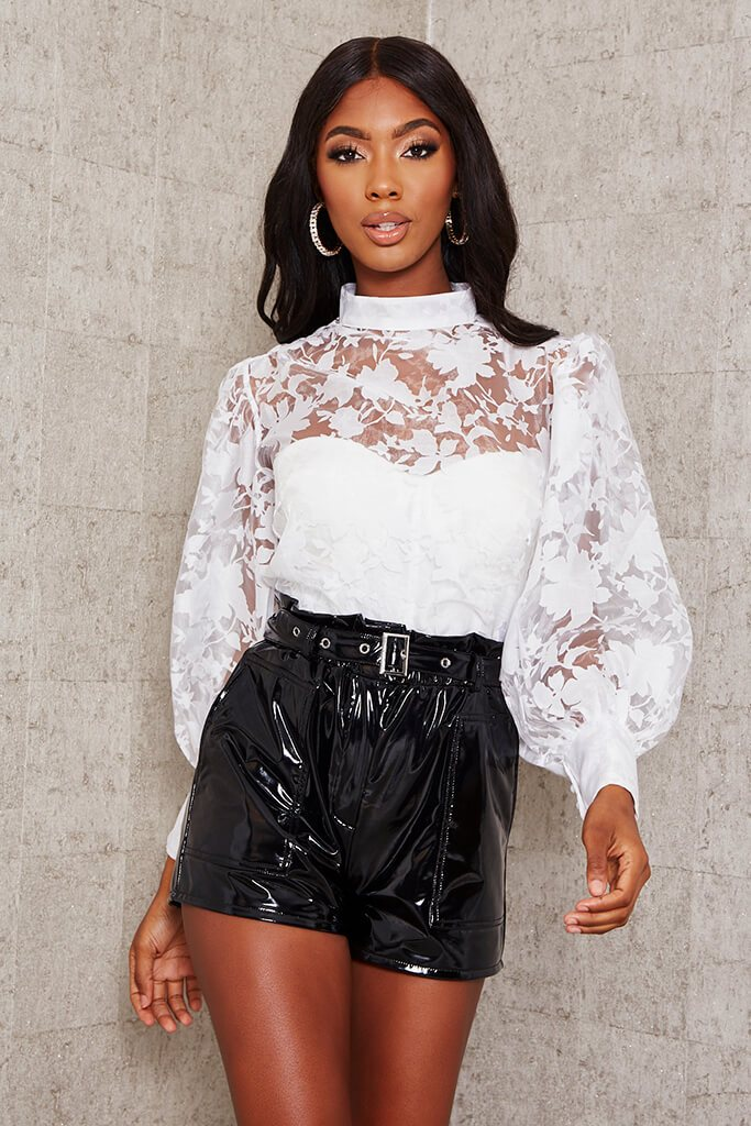White Floral Organza Balloon Sleeve Blouse