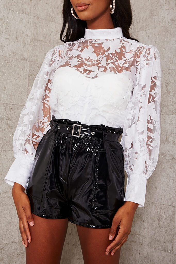 White Floral Organza Balloon Sleeve Blouse view 4