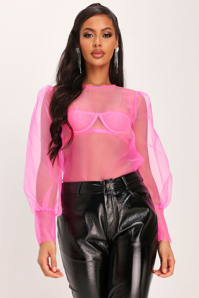 Fuchsia Organza Puff Sleeve Blouse view main view