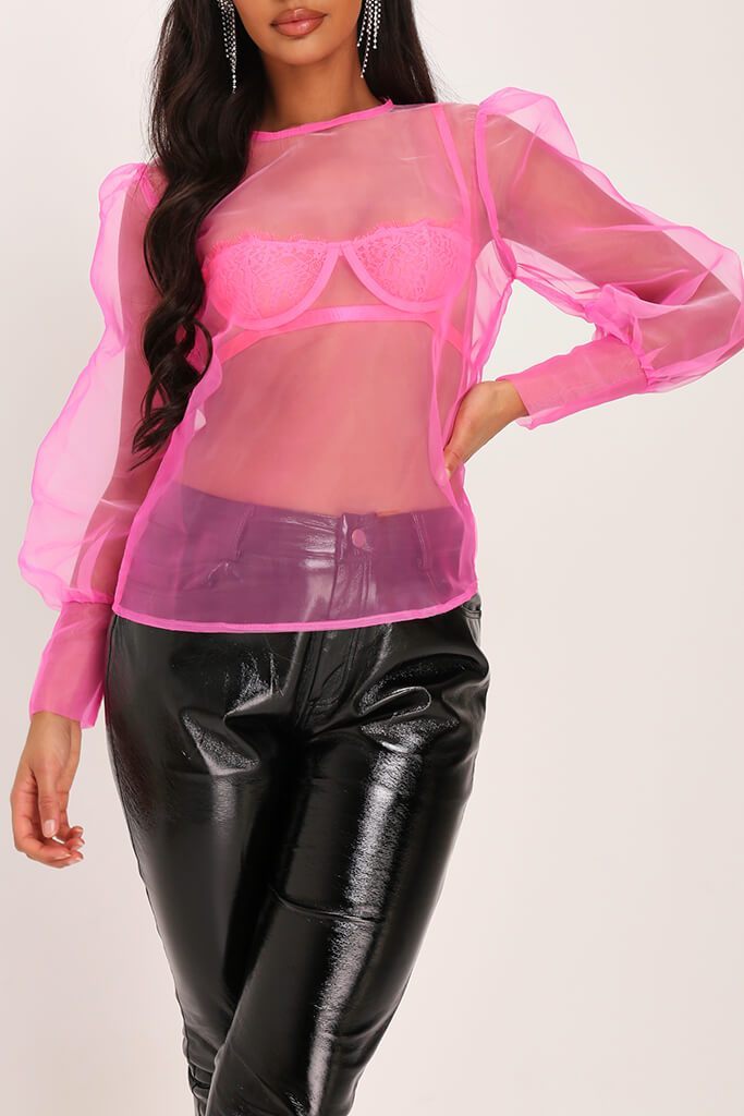 Fuchsia Organza Puff Sleeve Blouse view 4
