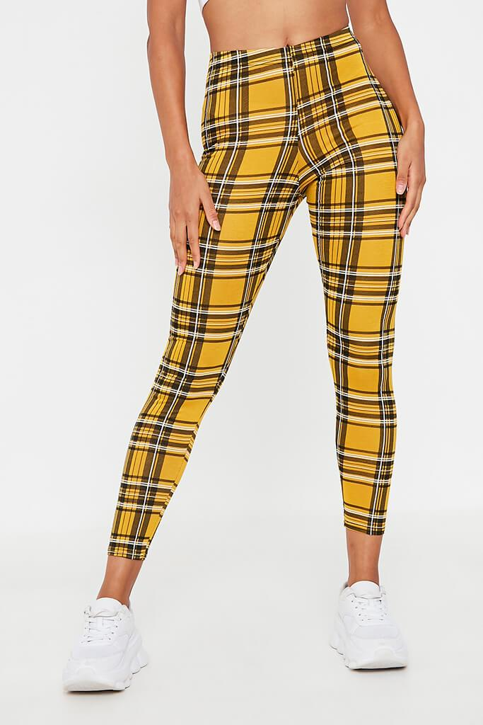 Yellow Check High Waisted Leggings view 2