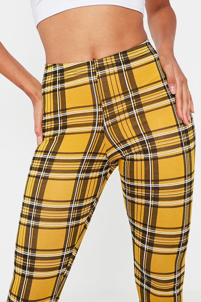 Yellow Check High Waisted Leggings view 4