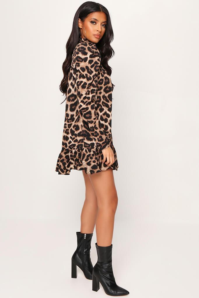 Animal Leopard Print High Neck Puff Sleeve Smock Dress view 3