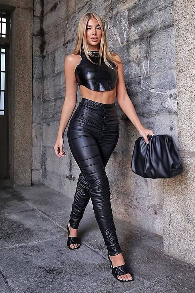 Black Faux Leather Ruched Leggings view main view