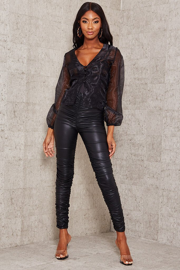 Black Faux Leather Ruched Leggings view 3