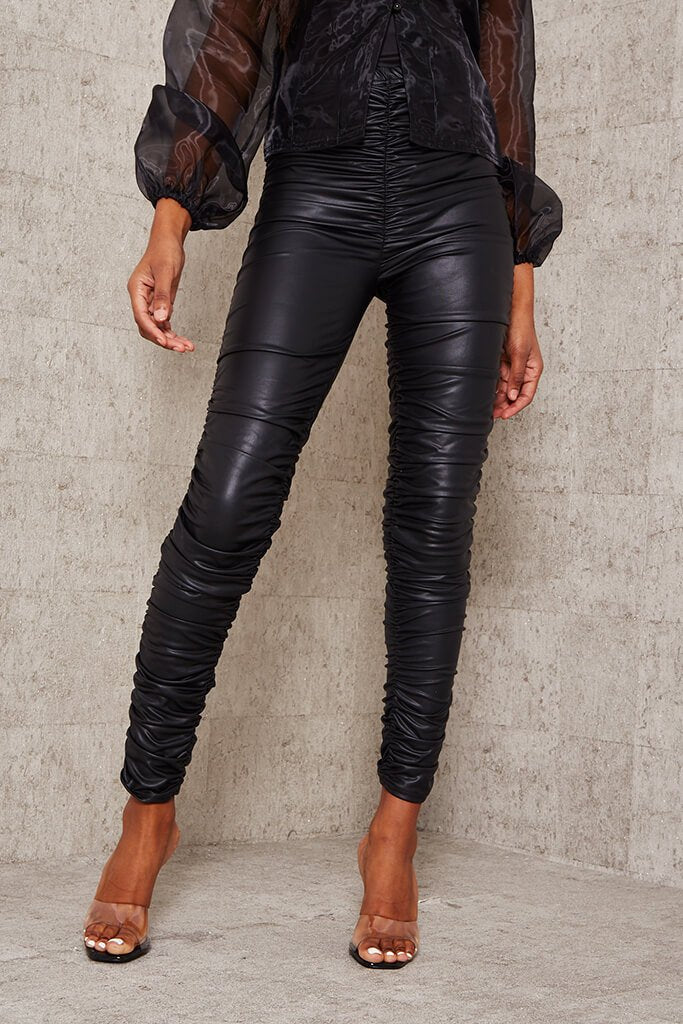 Black Faux Leather Ruched Leggings view 2