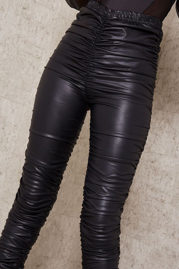 Black Faux Leather Ruched Leggings view 4