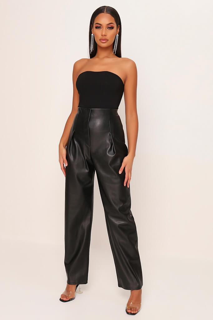 Black Faux Leather Pleated Front Straight Leg Trousers
