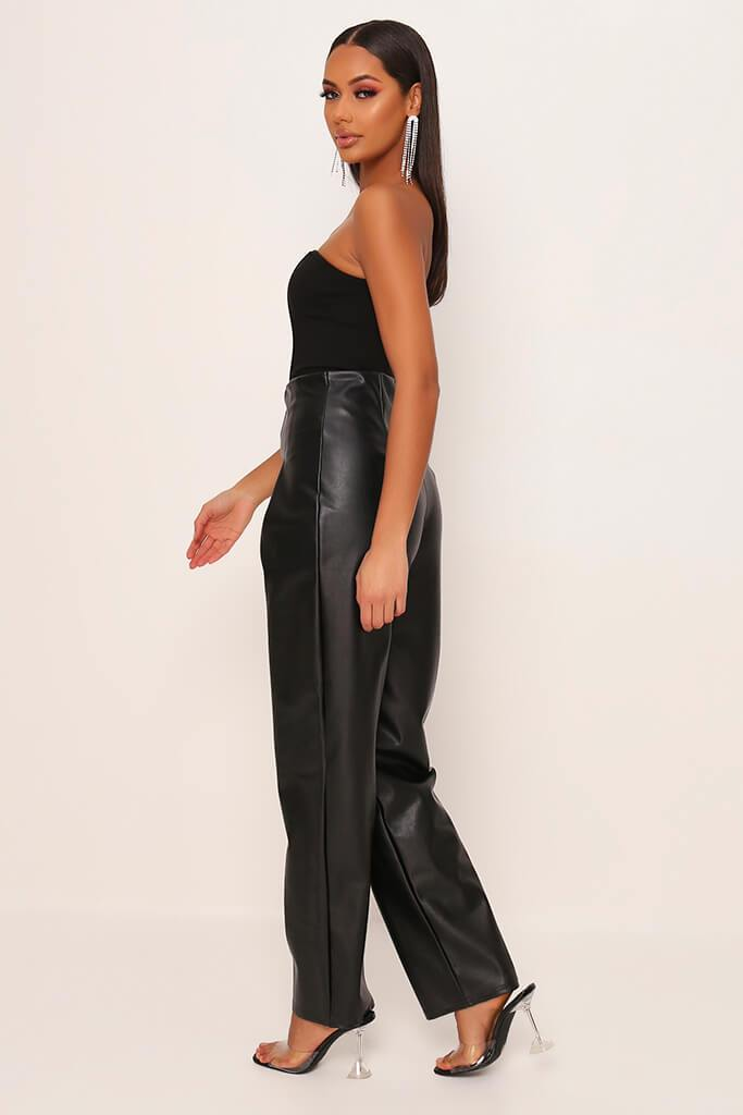 Black Faux Leather Pleated Front Straight Leg Trousers view 3